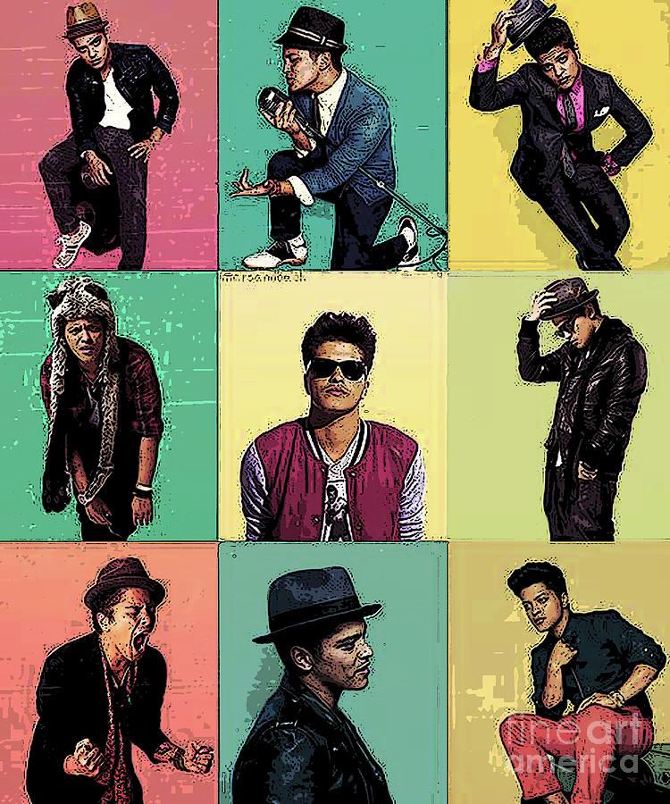 Bruno Mars Mixed Media - Solo Singer by Dee Art