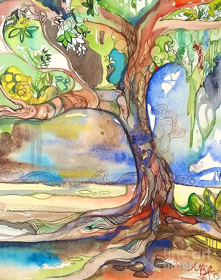 Tree Painting - Solo Tree by Maya Simonson