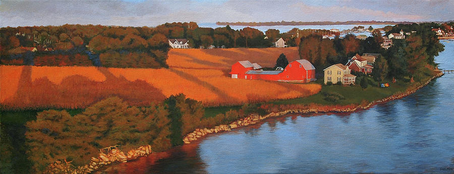 September Painting - Solomons Red Barn at Sunset by Suzanne Shelden