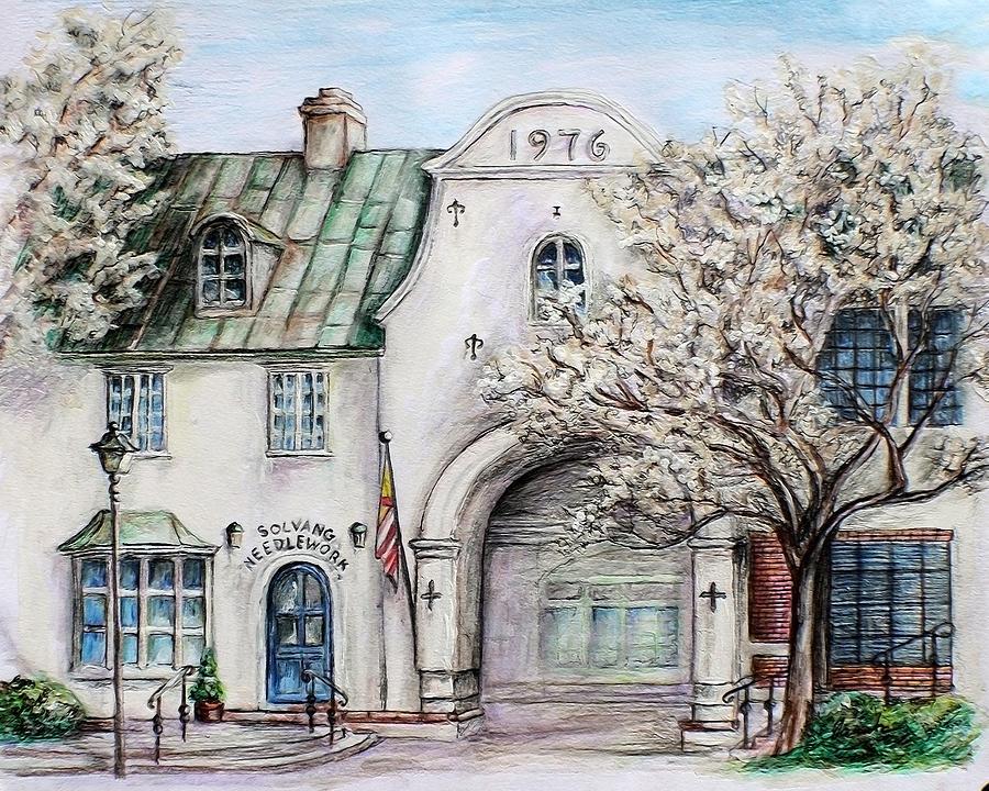 Town Drawing - Solvang Spring by Danuta Bennett