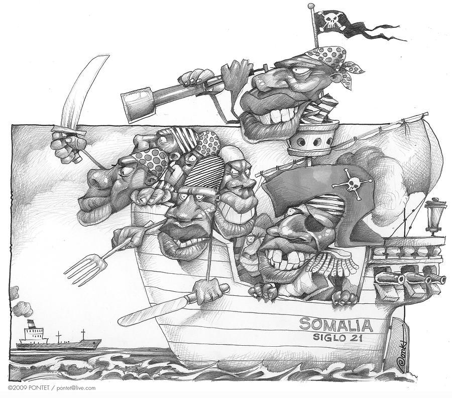 Pirates Drawing - Somali Pirates by Caricatures By PONTET
