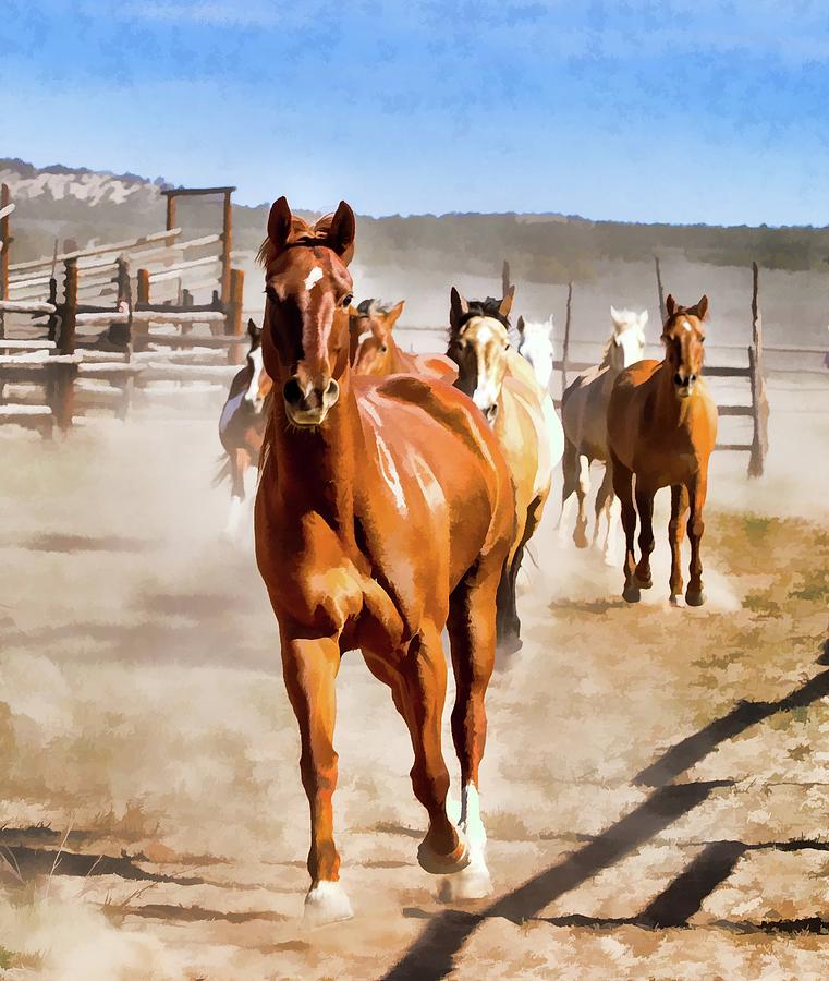 Sombrero Ranch horse drive, galloping into the dusty corrals by Nadja Rider