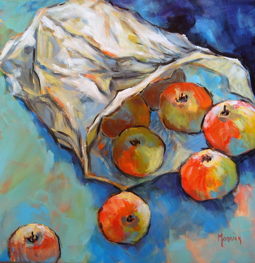 Apples Painting - Some Apples by Cathy MONNIER