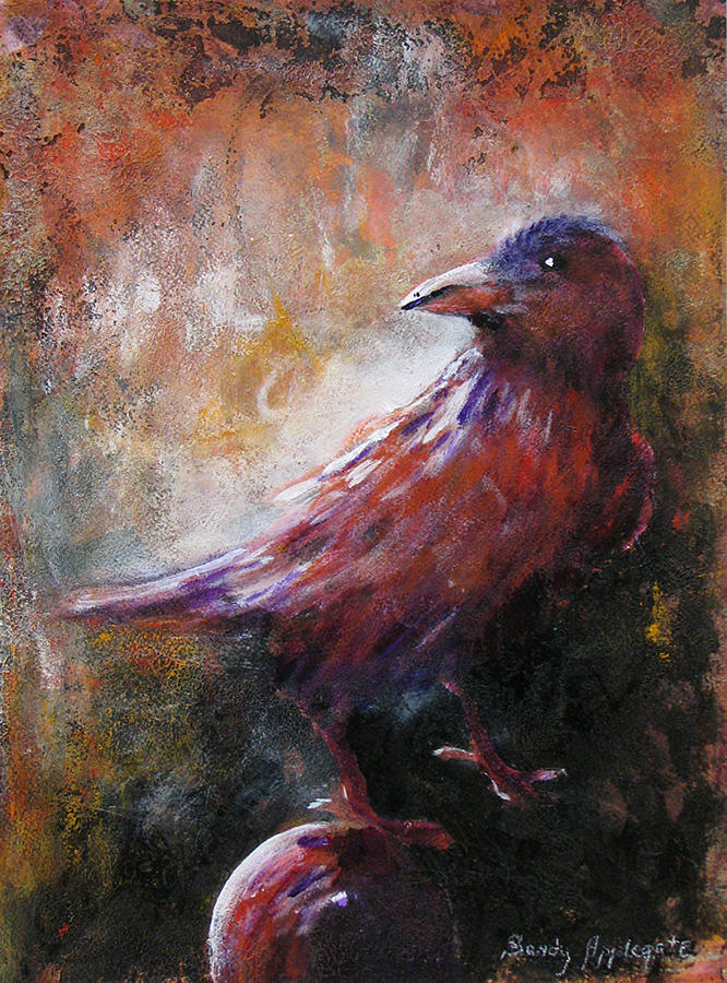Raven Painting - Some Late Visitor by Sandy Applegate