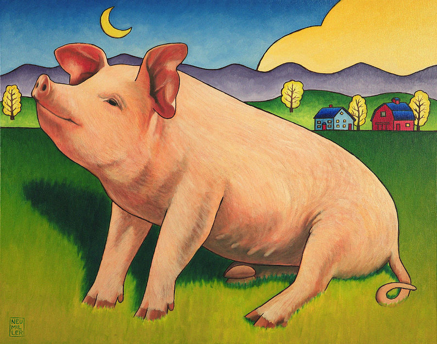 Pig Painting - Some Pig by Stacey Neumiller