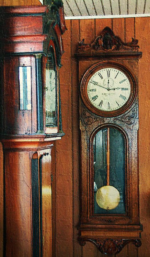 Antiques Digital Art - Somebodys Grandfathers Clocks by RC DeWinter