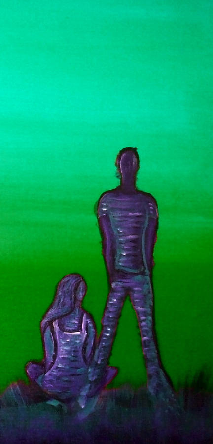 Cool Painting - Someone To Watch Over Me-green by Brenda Higginson