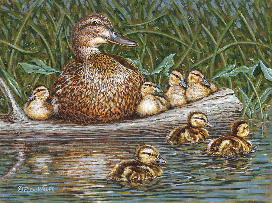 Waterfowl Painting - Someone To Watch Over Me by Richard De Wolfe