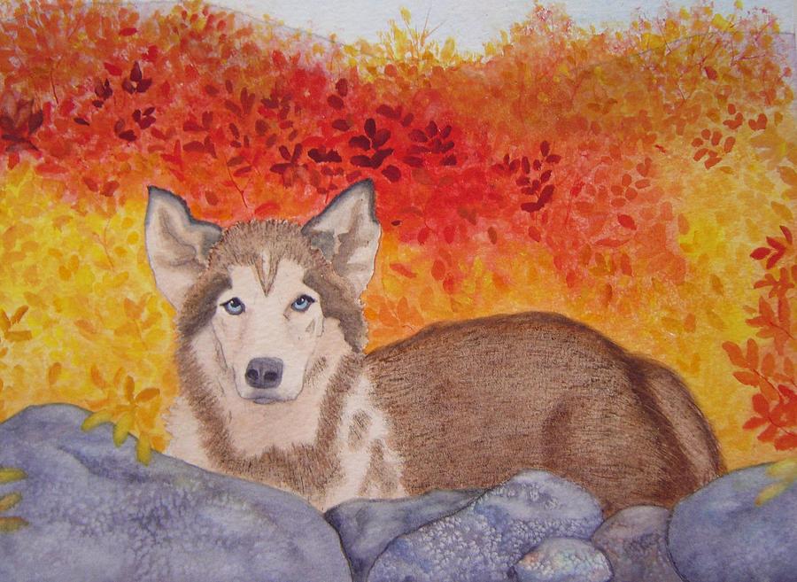 Dog Painting - Someones Watching by Teresa Boston