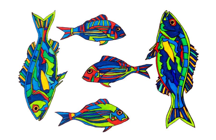 Fish Drawing - Something Fishy by Baya Clare