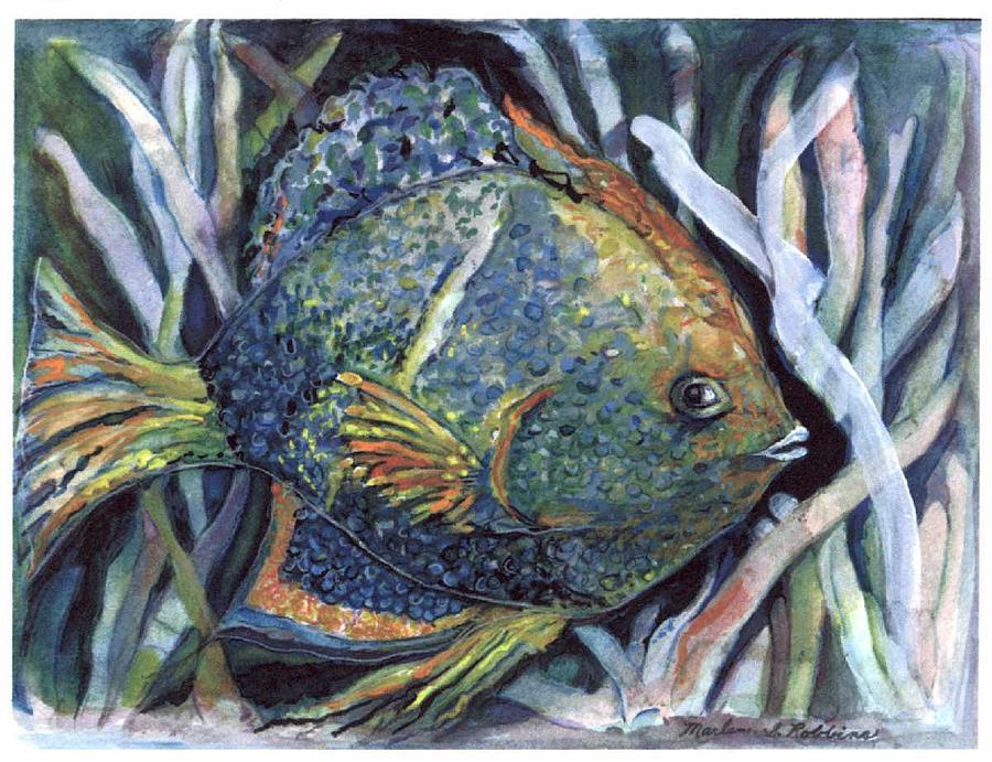 Fish Painting - Something Fishy by Marlene Robbins