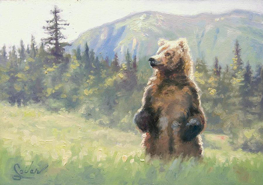Wildlife Painting - Something In The Air- Alaskan Brown Bear by Larry Seiler