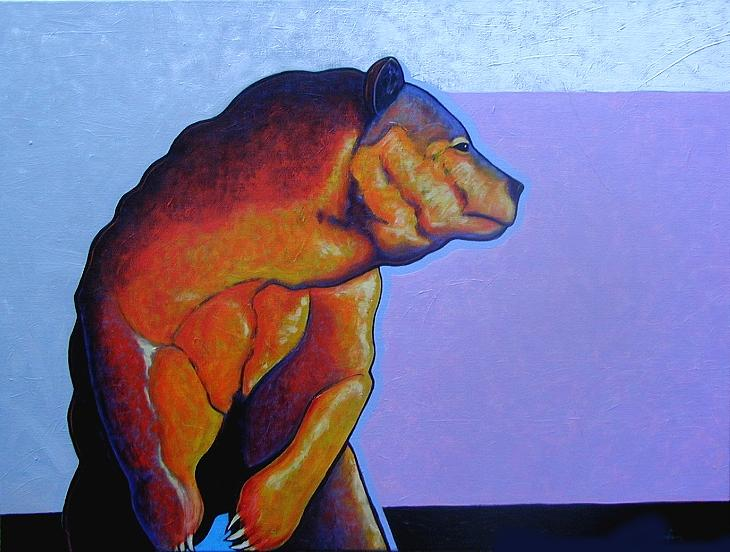 Wildlife Painting - Something In The Wind - Grizzly by Joe  Triano