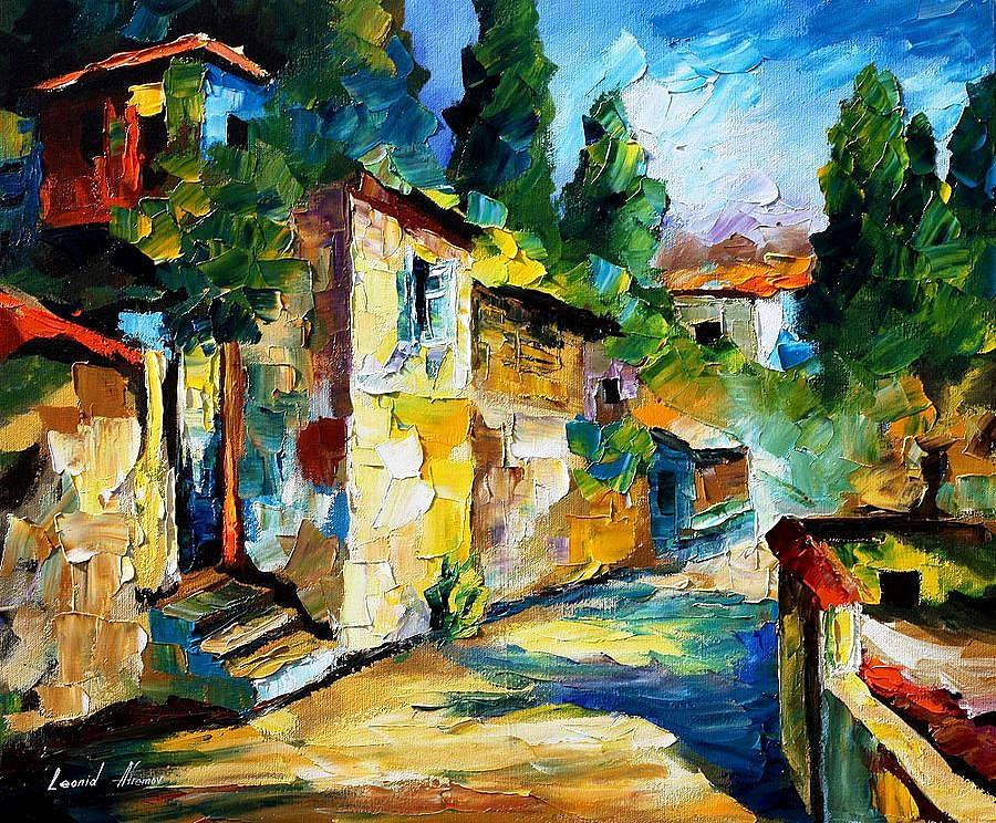 Somewhere in israel palette knife oil painting on canvas for Israeli artists oil paintings