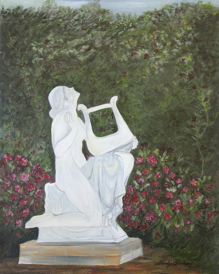 Statue Of Lady Playing Harp In Midst Of Blooming Rose Garden  Painting - Sonata by Shirley Lawing