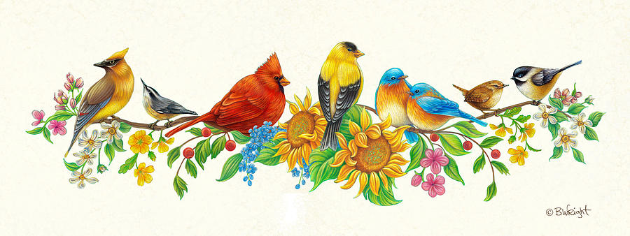 Songbirds on Flowering Branch by Beth Wright