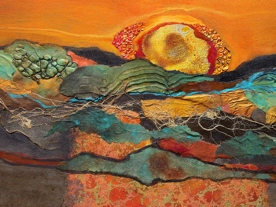 Collage Painting - Sonoran Sunset by Carol Nelson