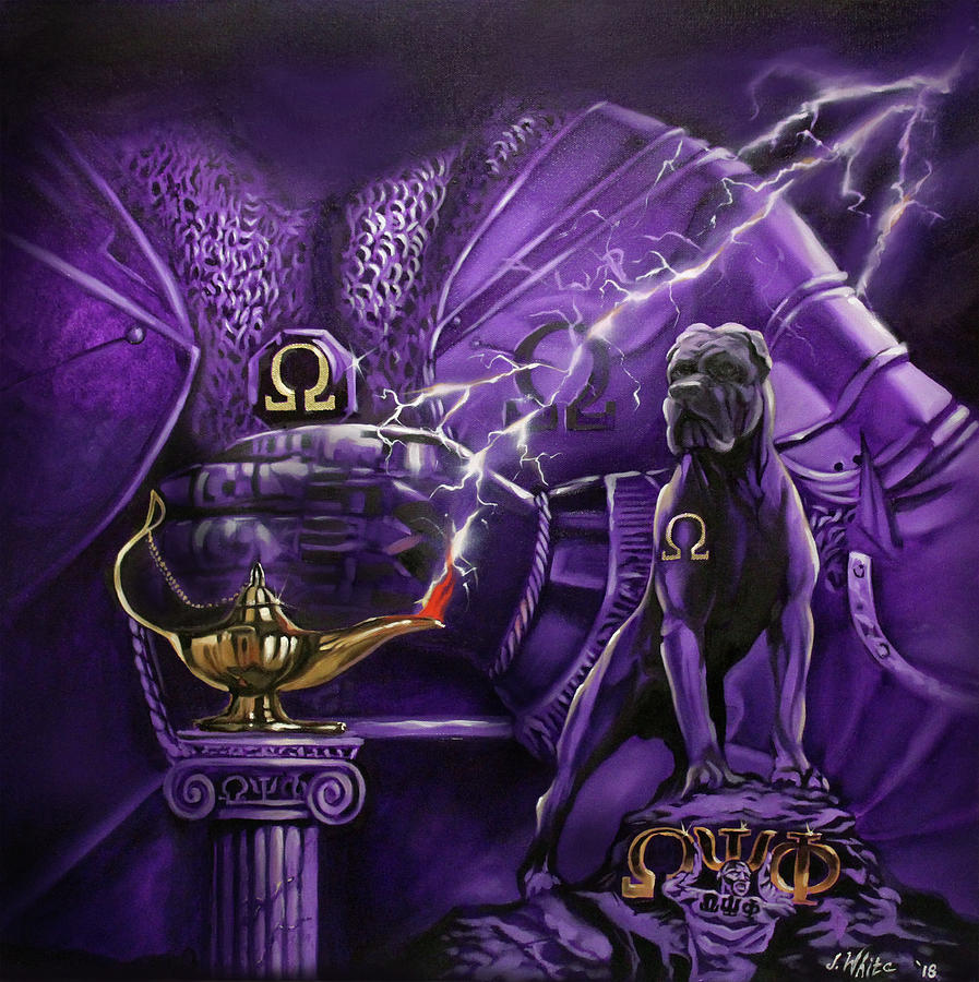 Omega Psi Phi Painting - Sons Of Blood And Thunder by Jerome White