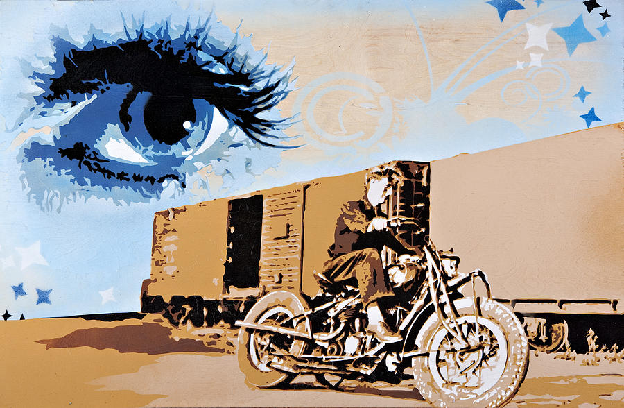 Motorcycle Painting - Sophia Keeps A Watchful Eye Over Bob On His Indian by Tai Taeoalii