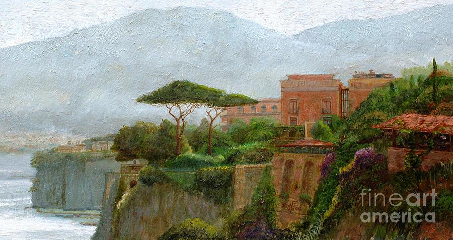 Amalfi Coast; Coastal; Landscape; Italian; Italy; Mountain; Mountains; Tree; Trees; Sorrento; Albergo Painting - Sorrento Albergo by Trevor Neal