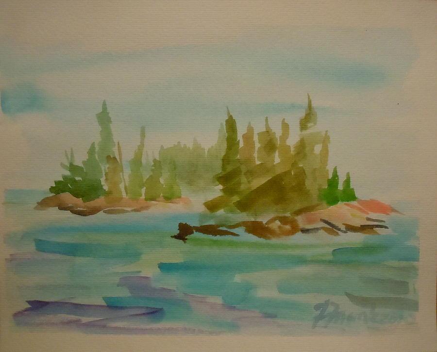 Maine Landscape Painting - Sorrento Islands by Francine Frank
