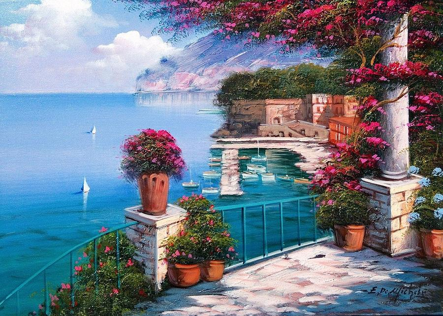 Sorrento Seascape Italy Painting by Ernesto Di Michele