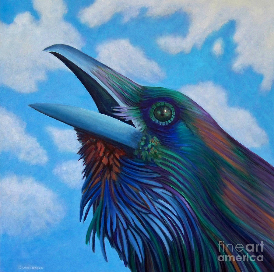 Raven Painting - Soul Call by Brian  Commerford