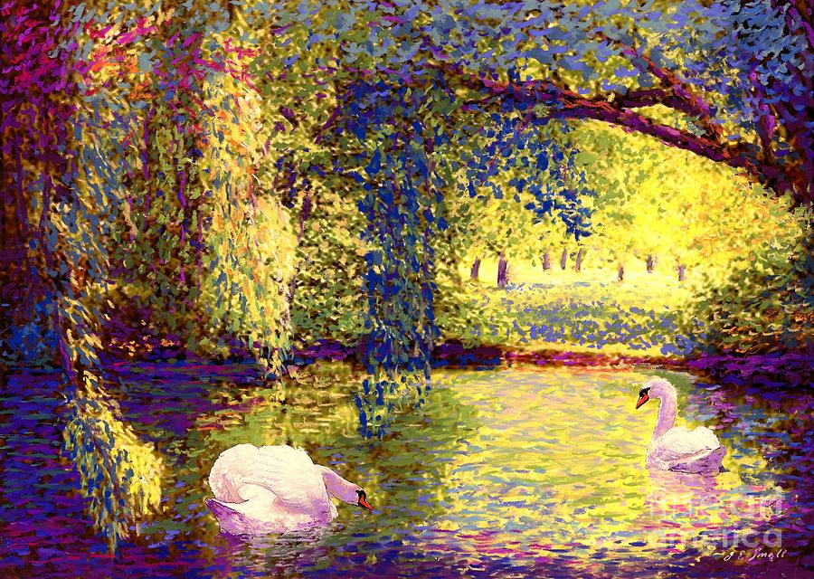 Landscape Painting - Swans, Soul Mates by Jane Small