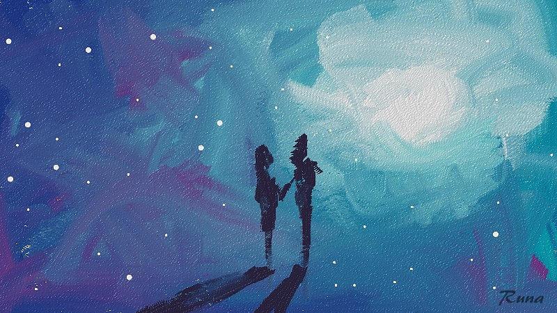 Abstract Digital Art - Soul Mates by Runa Bakshi