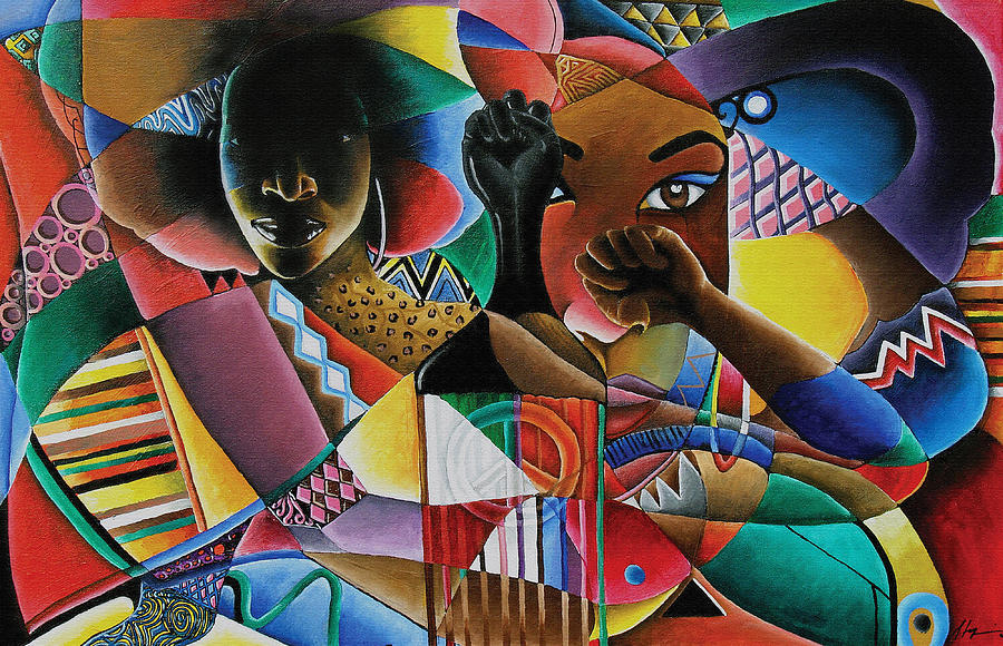 Black Art Painting - Soul by Stacy V McClain