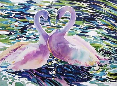 Swans Painting - Soulmates by H Lee Shapiro