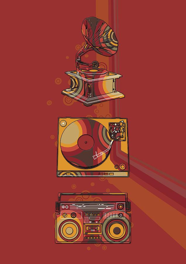 Retro Digital Art - Sound Evolution 5 by Bekim M