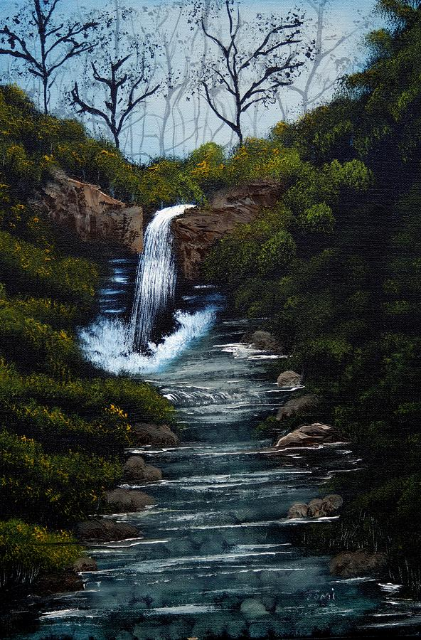 Waterfall Painting - Sound Of A Waterfall by Tomi Michaels