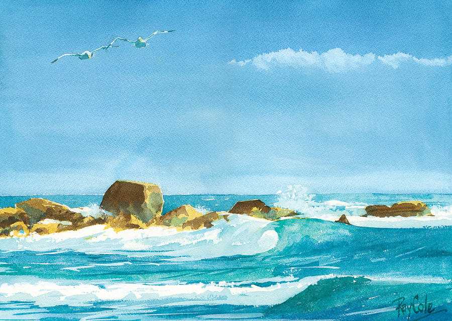 Waves Painting - Sound Of Surf by Ray Cole
