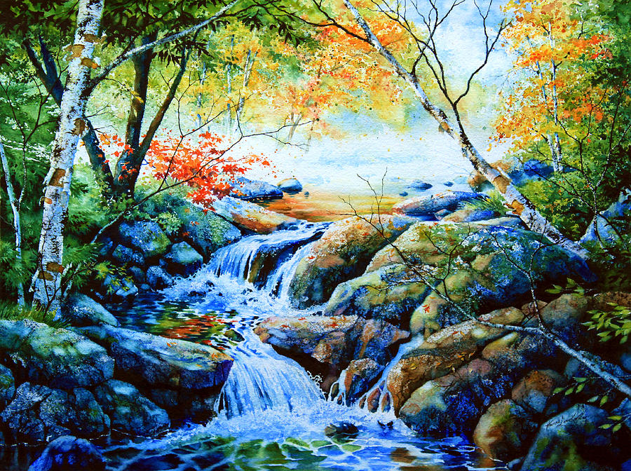 Autumn Creek Scene Painting - Sounds Of Silence by Hanne Lore Koehler