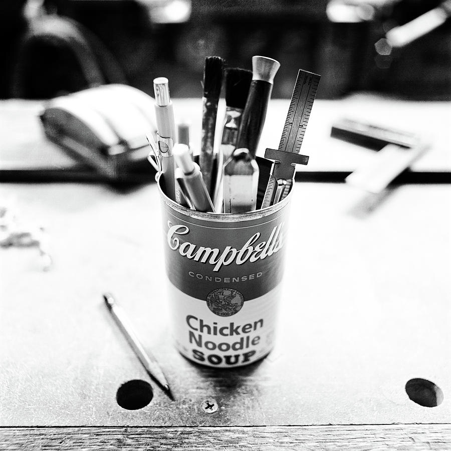 Soupcan Pencil Holder On Workbench In Bw Photograph