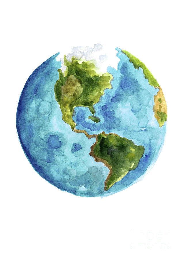 Planet Earth South America Illustration Watercolor World
