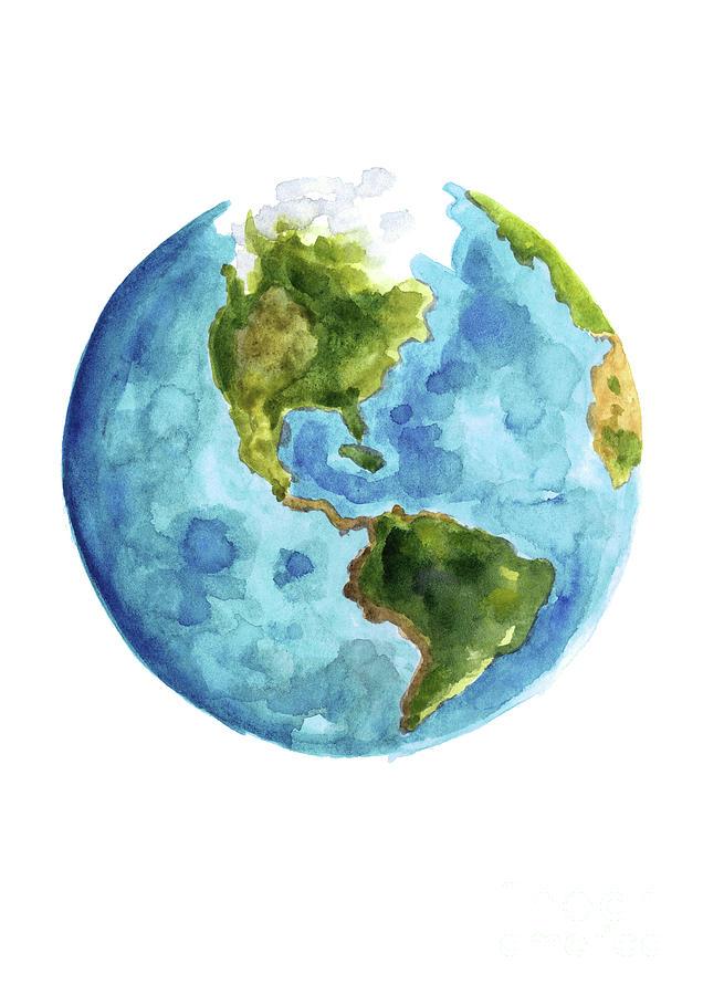 Map In Earth%0A Dear Earth Art Print   Watercolor Wall Art   Inspirational Print   Globe    Katie Daisy    x       x     Earth  Watercolor illustration and Watercolor