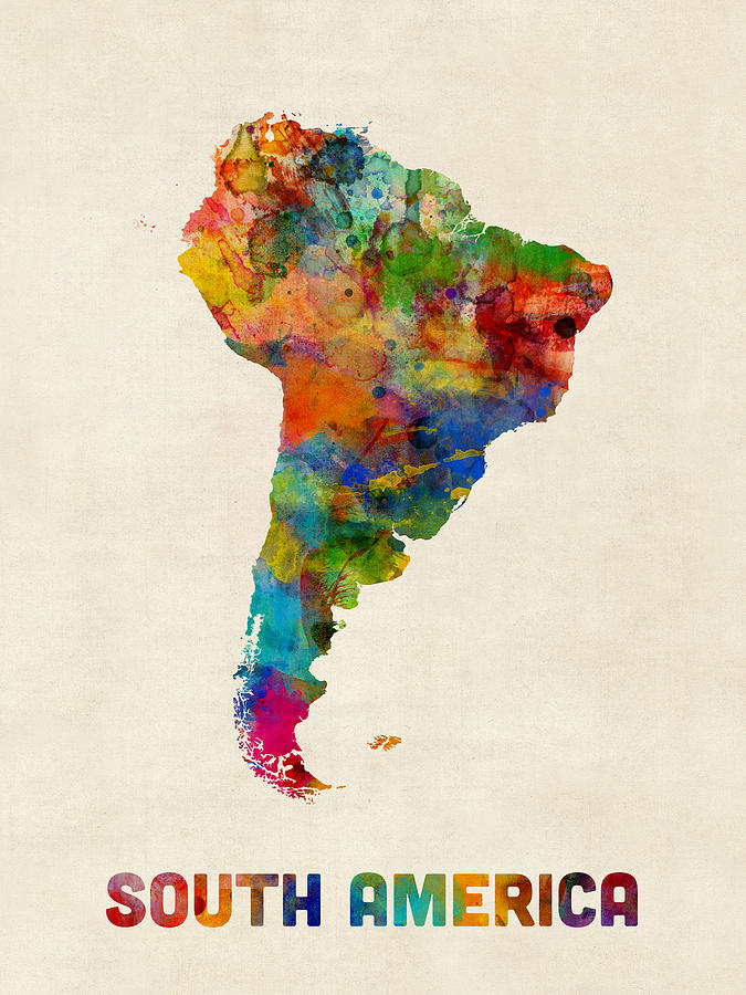 Watercolour Digital Art - South America Watercolor Map by Michael Tompsett