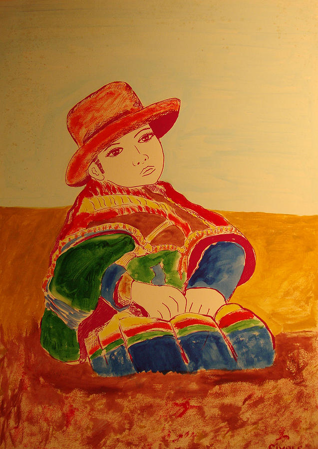 South American girl colored Painting by Biagio Civale