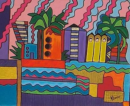 Painting Painting - South Beach 2001 by Kathleen  Henner