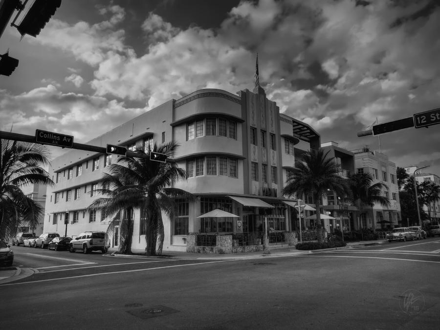 Miami Beach Photograph - South Beach - Collins Avenue 001 Bw by Lance Vaughn
