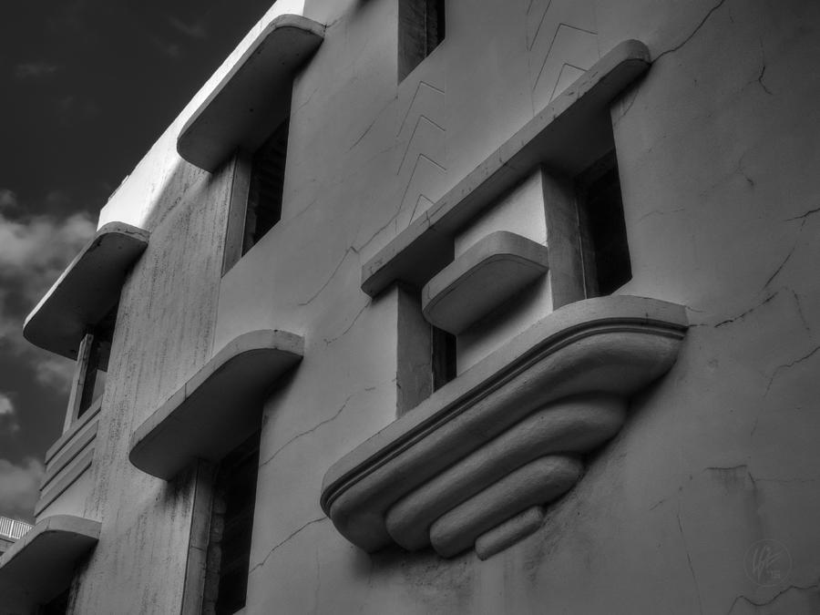 Art Deco Architecture Photograph - South Beach Deco Elements 001 Bw by Lance Vaughn