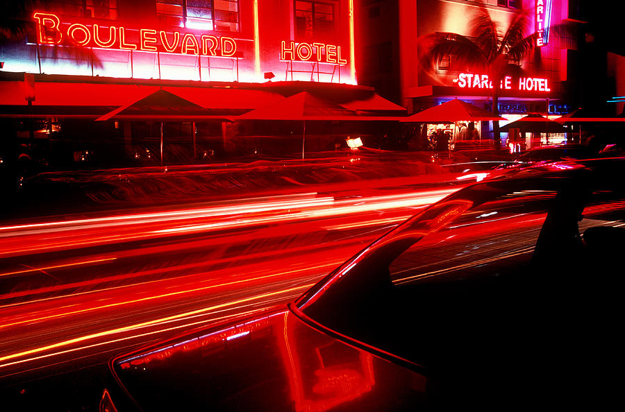 Neon Photograph - South Beach Red by Brad Rickerby
