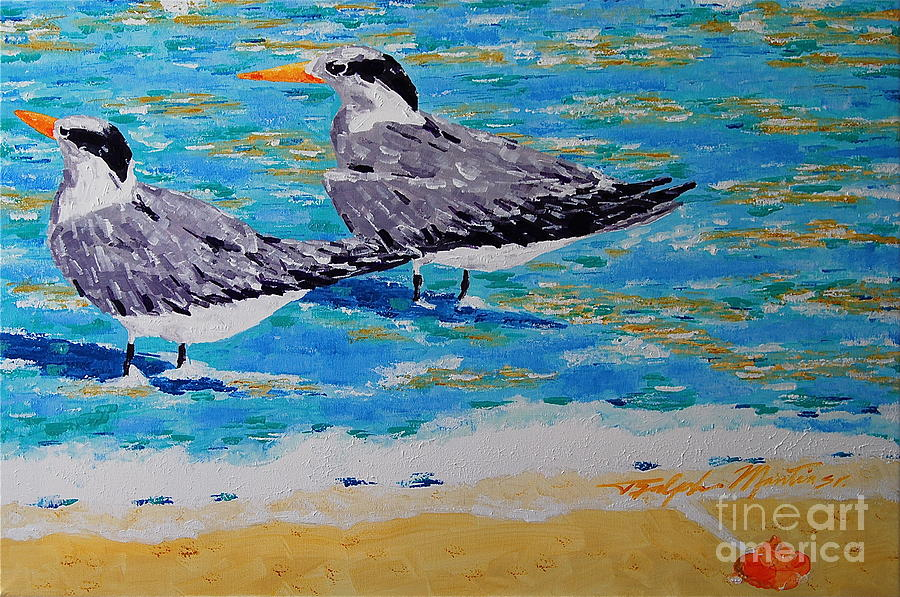 Seabirds Painting - South Beach Visitors by Art Mantia