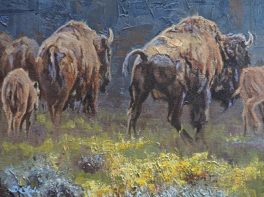 Bison Painting - South Bound by Mia DeLode