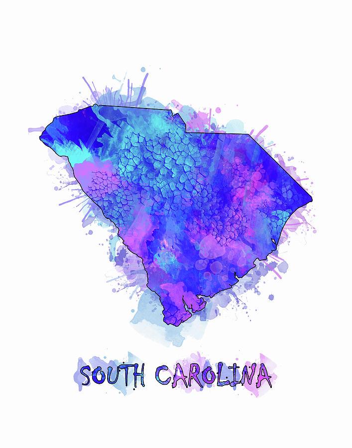 South Carolina Digital Art - South Carolina Map Watercolor 2 by Bekim M