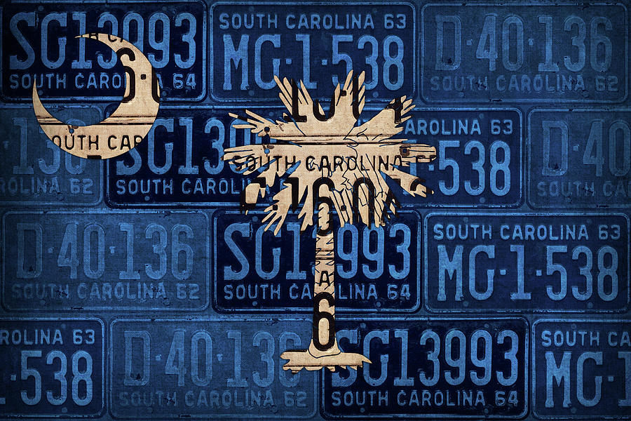 South Mixed Media - South Carolina State Flag Vintage License Plate Art by Design Turnpike