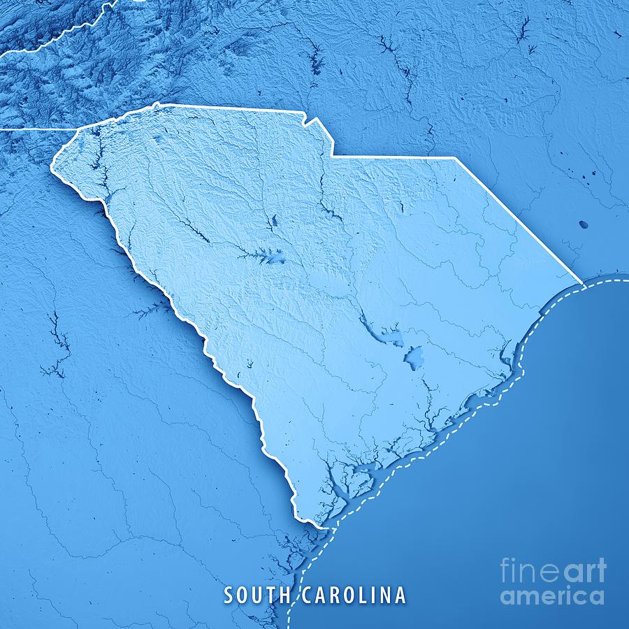 South Carolina State Usa 3d Render Topographic Map Blue Border ...
