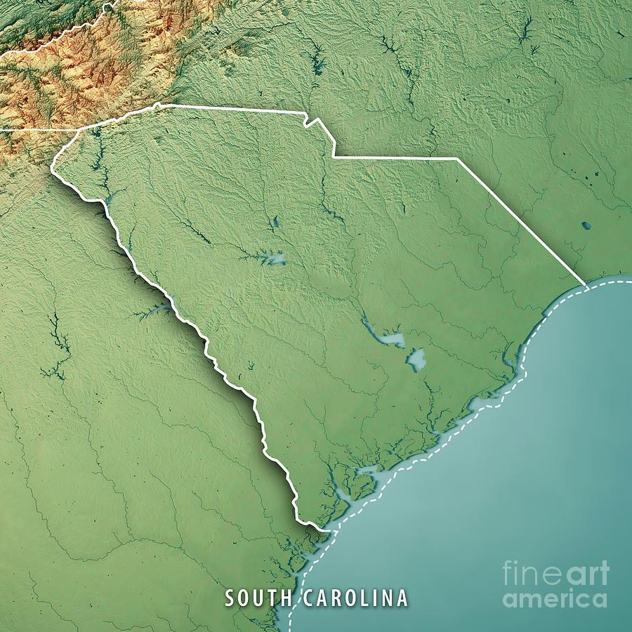 South Carolina State Usa 3d Render Topographic Map Border Digital ...